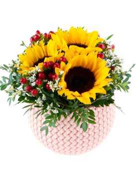 Flower pot pletený vzor slnečnice