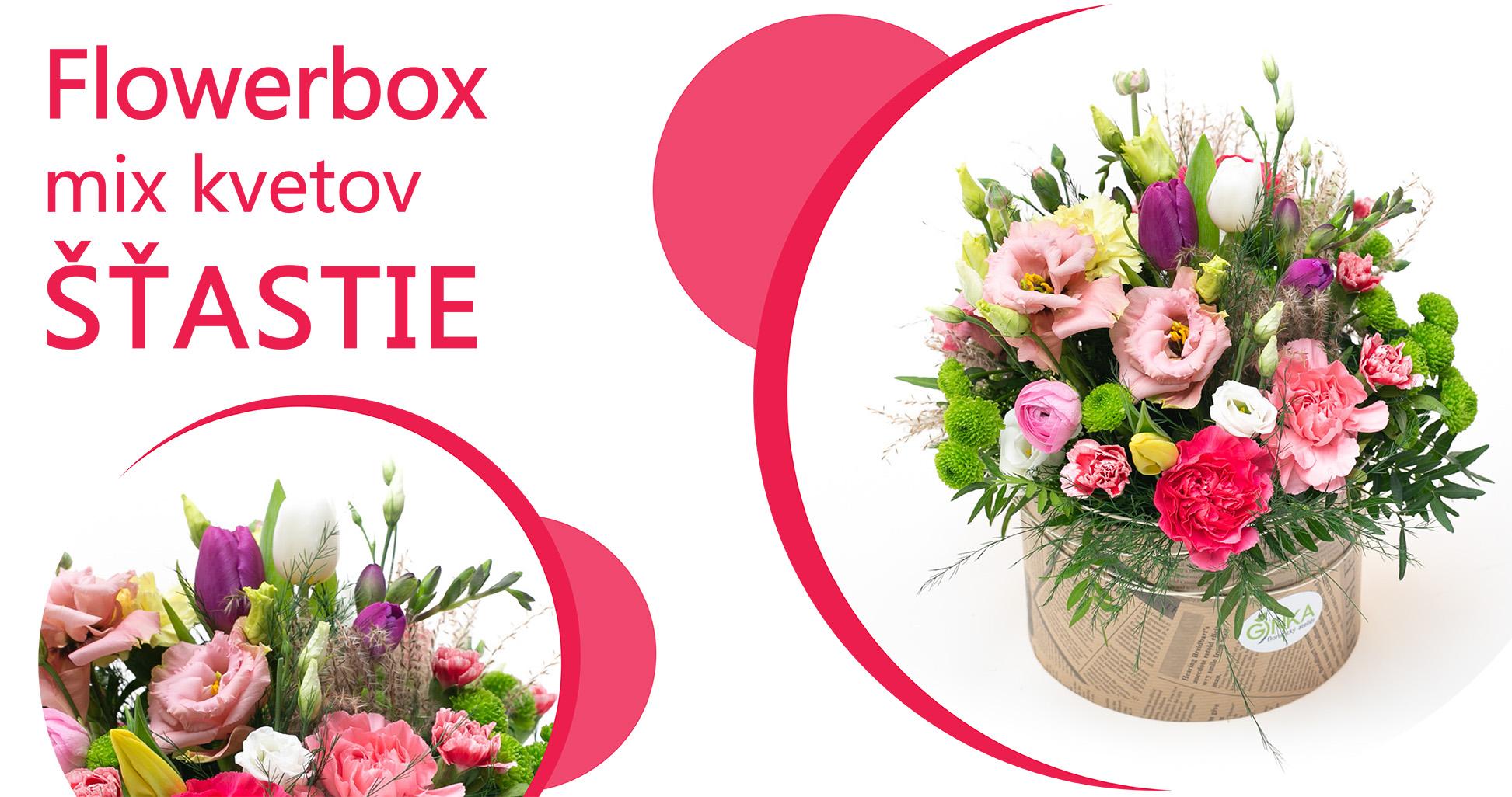 Flowerbox mix kvetov ŠŤASTIE